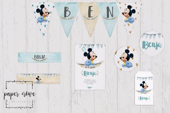 Kit Imprimible Baby Mickey Cumpleaños Bautismos Vintage