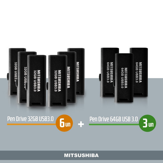 Kit Pen Drive 32g(usb 3.0) 6pcs + 64g(usb 3.0) 3pcs