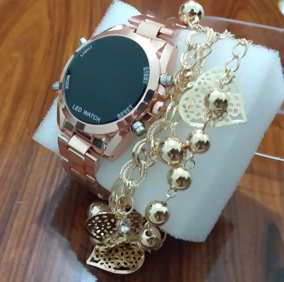 Relógio Digital Rose + Pulseira De Brinde
