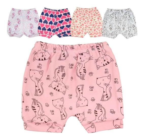 Short Bebe Menina 100% Algodão 2020 Suedine Kit 5 Shorts