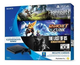 Ps4 Slim Playstation 4 500 Gb + 2 Joystick + 3 Juegos
