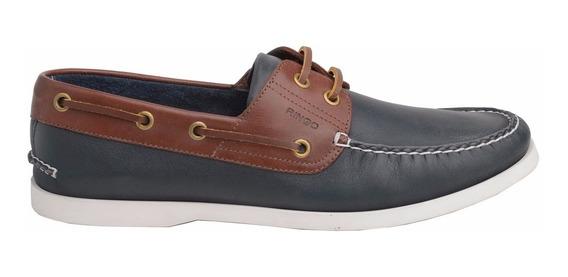 Zapatos Nauticos Ringo Sea 10 Cuero Patinado Azul / Marron