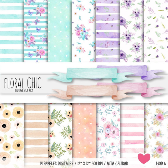 Kit Papeles Floral Chic Watercolor Fondos Imprimibles
