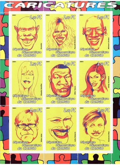 2 Hojas Con 30 Estampillas Caricaturas Hollywood - El Congo
