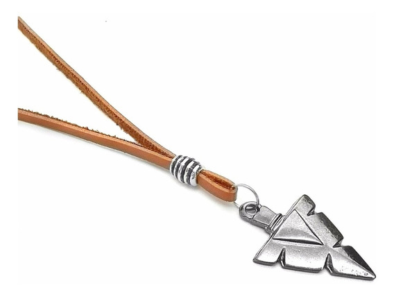 Colar De Couro Masculino E Feminino Flecha Tribal