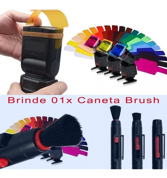 Gelatina Colorida P/ Flash Speedlight + Brinde Caneta Brush