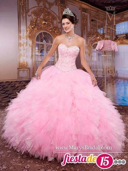 Rebaja Vestido De Quinceaños Con Decoracion Color Rosado