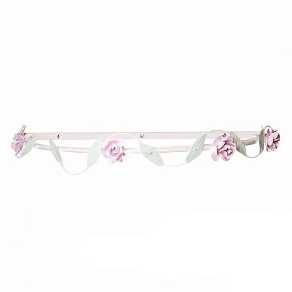 Dossel Parede Folhas Com Flores Rosa Quarto Bebê Infantil