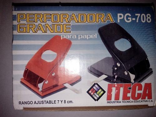 Perforadora Abre Huecos 2 Huecos Grande  Iteca Pg-708 Azul