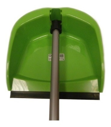 Recogedor Abatible Con Goma Y Mango Metálico, Color Verde