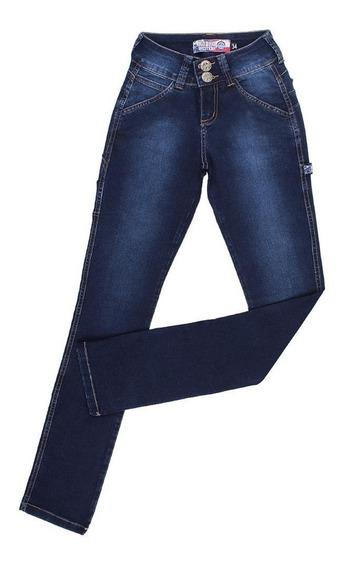 Calça Feminina Carpinteira Jeans Escuro Com Elastano 24705