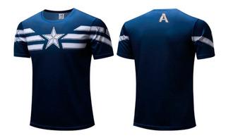 Camisas Capitão America Marinho - Poliéster