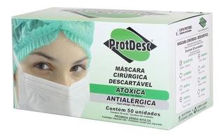 Máscara Cirúrgica Protdesc Cx C/50uni Descartável Tripla