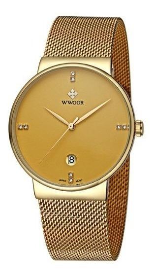 Relógio Ultra Fino Wwoor Original 8018 3 Opções De Cores