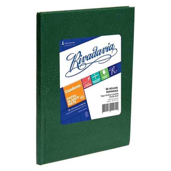 Cuaderno Rivadavia Tapa Dura X98 Hjs Rayado Verde