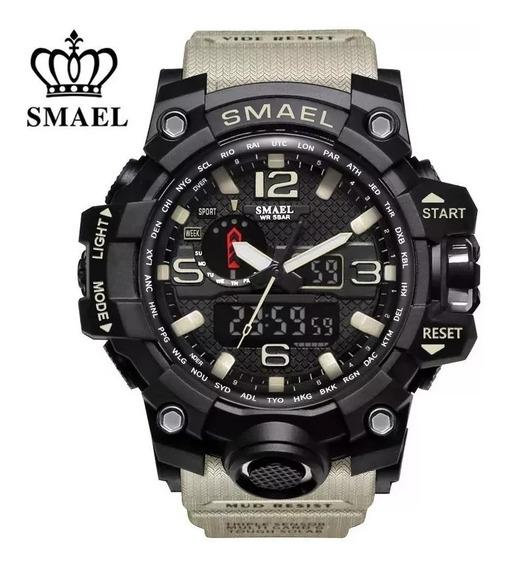 Relógio Masculino Smael 1545 Militar Esportivo Shock Kahki