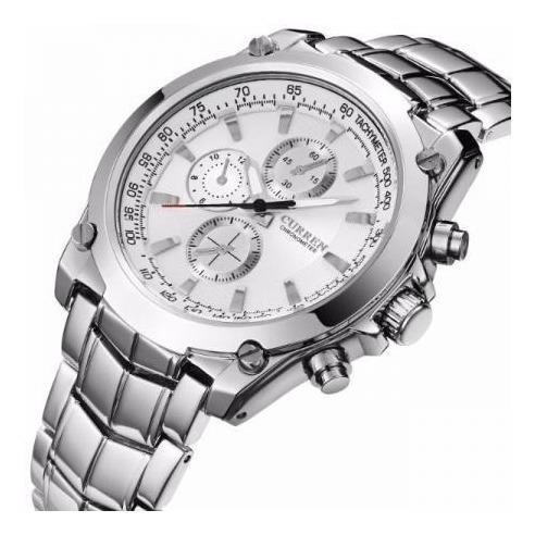 Relógio Masculino Curren Aço Inox Luxo Prova D
