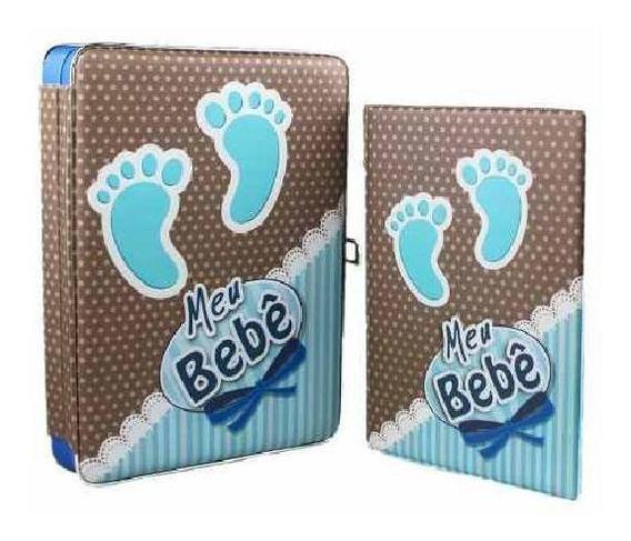 Álbum Meu Bebê 15x21 40 Fotos Com Estojo - Pezinho Azul
