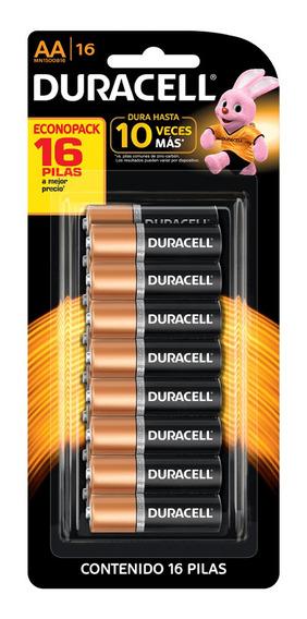 Kit Pilhas Alcalinas Aa Duracell Duralock 16 Unidades