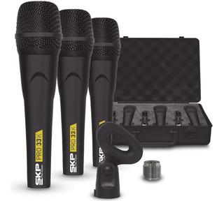 Kit Microfone Profissional Skp Pro33k Com Case - 3 Unidades