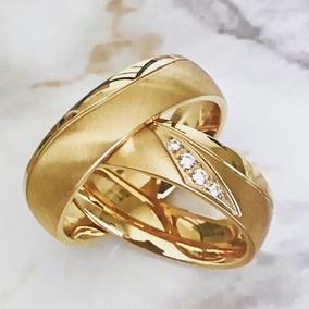 Par De Alianças 3 Banhos Noivado Casamento Banhada Com Pedra