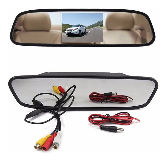 Espelho Retrovisor Com Tela 4.3 Lcd Para Camera De Re