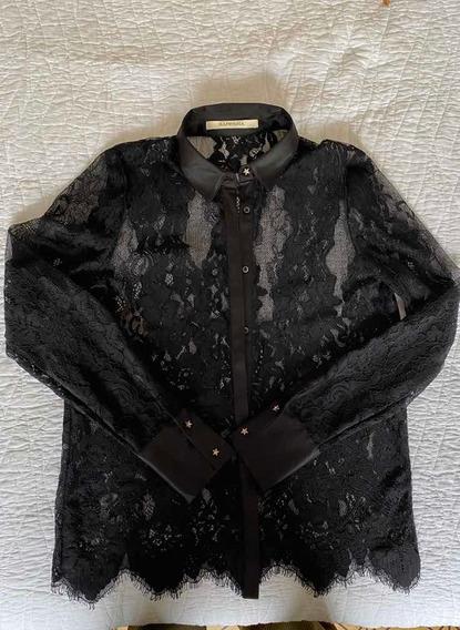 Camisa Rapsodia De Encaje Negro