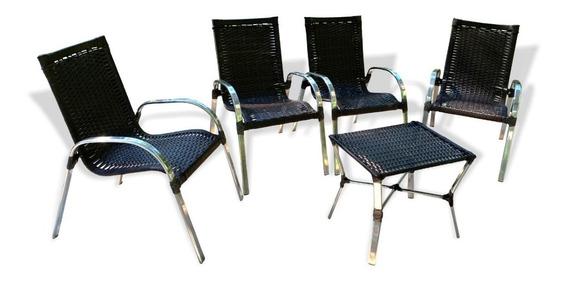 Jogo Cadeira Vime, Varanda, Área, Jardim, Sala De Estar