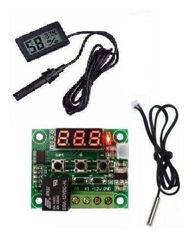 Kit Chocadeira Termostato Digital W1209 + Higrômetro Sensor