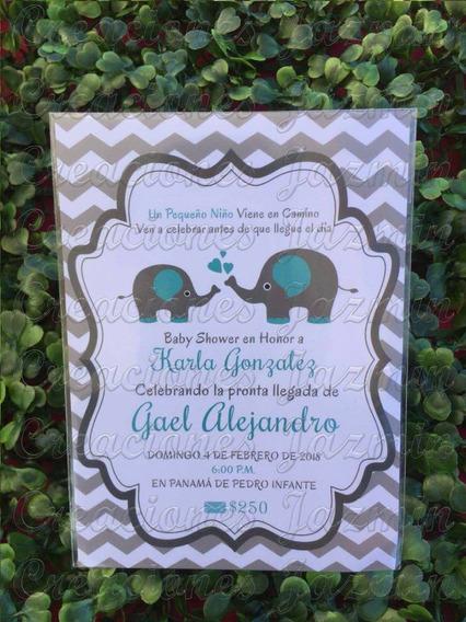Invitación Baby Shower Elefantito Impresa 10x14 Cm 50 Pzas