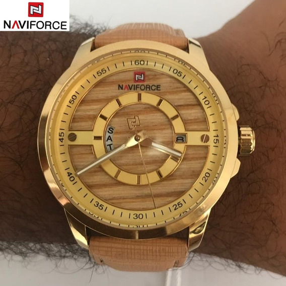 Relógio Naviforce 9151 Envio Imediato Pulseira Couro Dourado