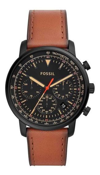 Relógio Fossil Masculino Cronografo Fs5501/0pn Preto Couro