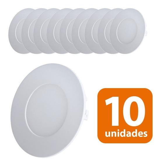 Kit 10 Plafons Led Redondo De Embutir 3w Luminária Dicroica