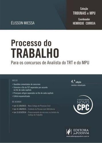 Processo Do Trabalho Para Os Concursos De Analista Do Trt...