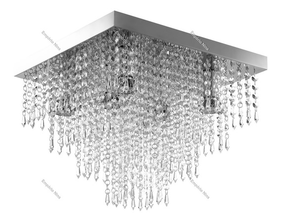 Lustre De Cristal Acrílico A42 - Inox 40x40cm - E27 Bivolt