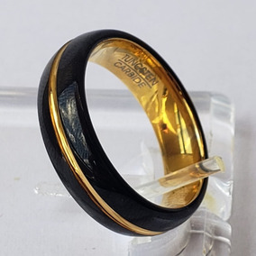 Par Aliança 6mm Tungstênio Preto Com Dourado