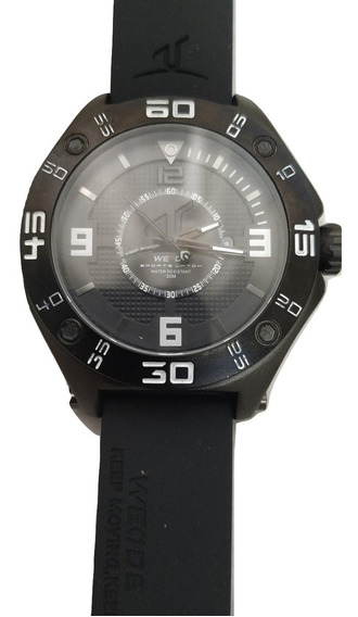 Relógio Preto Masculino Weide Estilo Rolex Pulseira Borracha