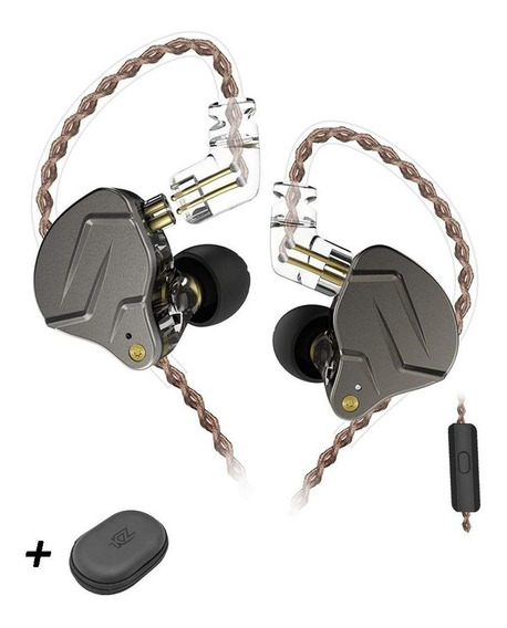 Fone De Ouvido Kz Zsn Pro Com Microfone (cinza)(brinde Case)