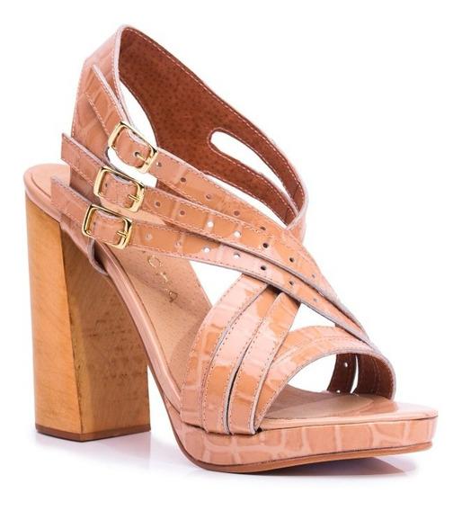 Zapato Mujer Sandalia Natacha Cuero Croco Charol Nude #4012