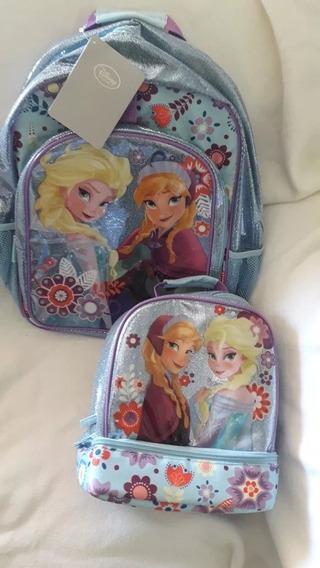 Mochila + Lancheira Frozen Disney Store Novos Importados Eua