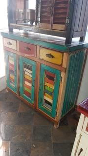 Bahiut 1,00 Mesa De Tv Vajillero Vintage Rustico Desgastado