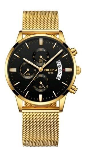 Relógio Masculino Dourado Nibosi Aço Safira 100% Funcional
