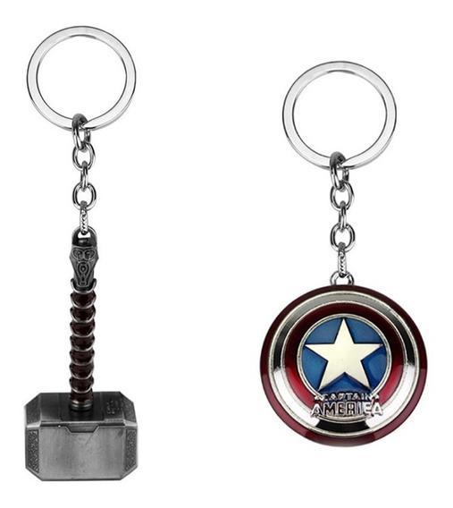 Chaveiro Marvel Vingadores Capitão América + Thor Mjolnir
