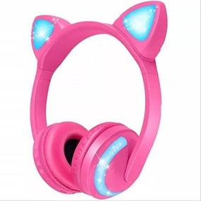 Fone De Ouvido Orelha Gato Led 7 Cor Bluetooth Headset Exbom