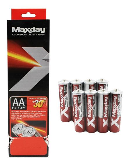 Kit 60 Pilhas De Carbono Para Eletrônicos Maxday 1.5v Aa