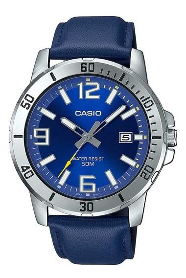 Relogio Casio Masculino Mtp-vd01l 2bvu Prata Couro Azul