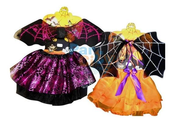 Set Infantil Bruja Disfraz Economico Nena Alas Halloween X1