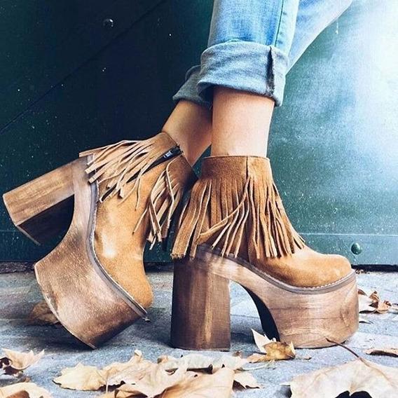 Botas Con Flecos Zapatos Mujer Plataforma Dalastore
