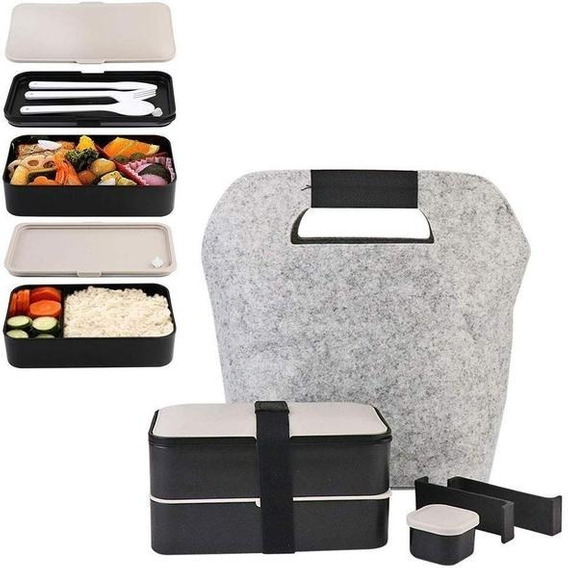 Bento Box / Lunch Box Moderna + Bolsa + Cubiertos Gratis !