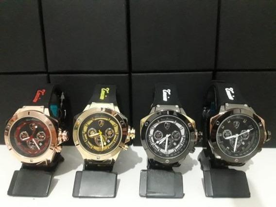 Lançamento 2018 - Kit C/4 Relógios Lamborghini C/calendário